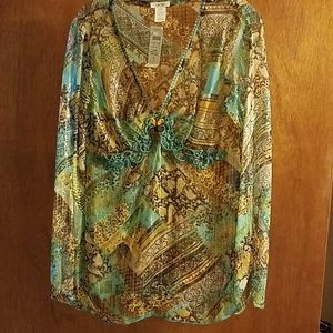 Cach'e  Elegant blouse size medium Aqua color